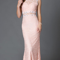 Mock Two Piece Floor Length Lace Dress