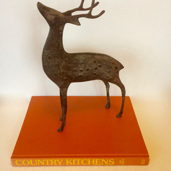cast metal reindeer large metal reindeer stag elk cast iron meta