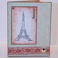 French Vintage Amour (Love) Handmade Anniversary Card
