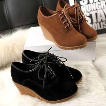 2014 Autumn Spring Winter Black Brown Genuine Leather Wedge Oxford Shoes For Women Celebrity Lace Up High Heels Ankle Booties