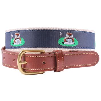 Caddyshack Leather Tab Belt in Navy by Country Club Prep