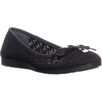 GB35 Odeysa3 Perforated Bow Ballet Flats, Black, 7.5 US