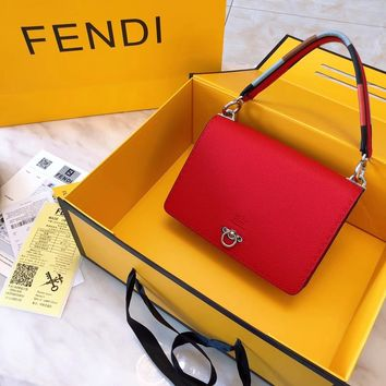 Fendi Women Shopping Leather Tote Handbag Shoulder Bag Purse