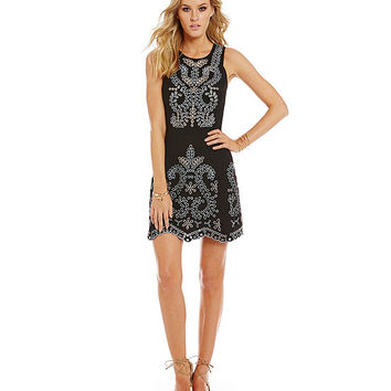 Sugarlips Daniella Embroidered Open-Back Sleeveless Dress | Dillards