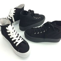 Soda Vince Womens Fashion Platform Athletic Sneakers Canvas Lace Up Rubber Shoes