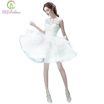 SSYFashion White Lace Flower Bridesmaid Dress Sweet Princess Bride banquet Ball Gown Short Ball Gown Elegant Party Prom Dresses