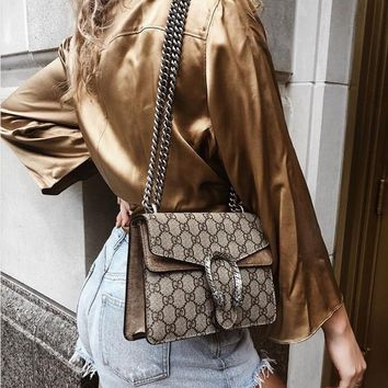 GUCCI Classic Fashion Women Retro Shopping Leather Metal Chain Crossbody Satchel Shoulder Bag