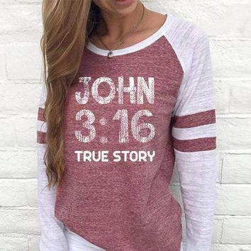 John 3:16 Women's Baseball Jersey Christian Semi-Fitted Long Sleeve Shirt