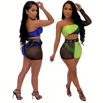 Women Sexy Mesh Rhinestone Neon One Sleeve Crop Top Short Set