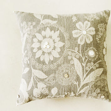 Set of Two Printed Linen Decorative Pillow , Cushion Cover  with Mother Of Pearl Buttons