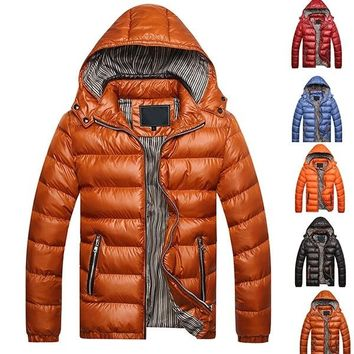 New fashion Men Winter Warm Jacket Slim Fit Hooded Plus Size coat Men's Down Jacket Cotton Padded For Men