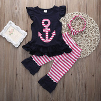 Kids-Baby-Girl-Headband-Outfits-Ruffle-T-shirt-Capris-Pants-3PCS-Clothes-Set