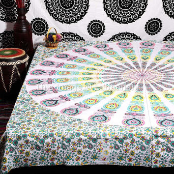 Large Hippie Hippy Wall Hanging , Indian Mandala Tapestry Fabric Throw Bedspread Queen Bed Holiday Decor Sheet Ethnic Decorative Art