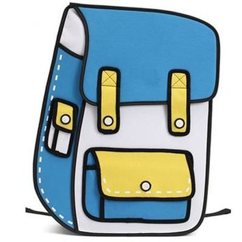 100% Real 3D Cartoon Paper Backpack For School