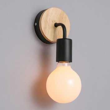 Modern and Simple Nordic Creative Personality Wood Iron Corridor Bedside Toilet Wall Light Free Shipping
