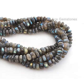 Labradorite Smooth Rondelle Beads Semiprecious Wholesale Beads Gemstone Beads A+ Grade, 9mm, 35 cm Strand