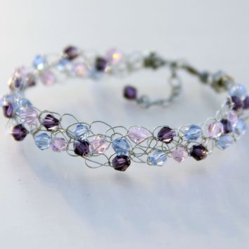 Chunky wiring pastel pink blue purple glass bracelet Bridesmaid gifts Free US Shipping handmade Anni designs