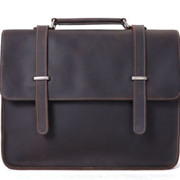 BLUESEBE MEN VINTAGE LEATHER SATCHEL/MESSENGER BAG 6148