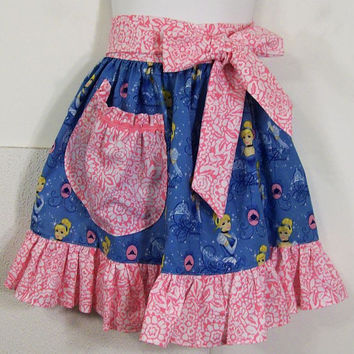 Girls Half Apron-Disney blue with Pink---#54--Made to Order