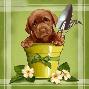 5D Diamond Painting Puppy in a Flower Pot Kit