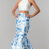 High-Neck Blue Print Two-Piece Prom Dress