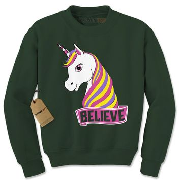 Unicorn Believe Ugly Christmas Adult Crewneck Sweatshirt