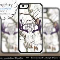 Dark Purple Antlers Monogram iPhone 5C 6 Plus Case Browning iPhone 5s iPhone 4 case Ipod White Camo Deer Personalized Country Inspired Girl