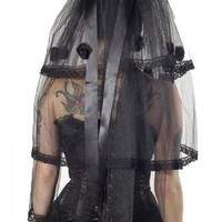 LACBB01 - Bitter Beauty Short Black Gothic Veil | Accessories/Gifts | Phaze Clothing