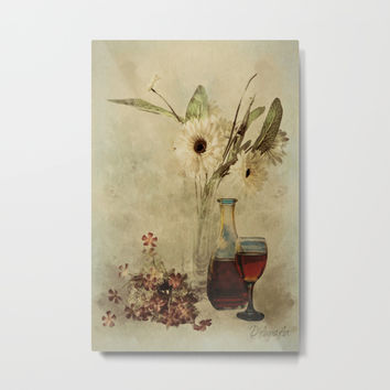 Wine And Wildflowers Metal Print by Theresa Campbell D'August Art