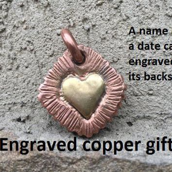 Copper gift for her, bronze heart, copper necklace, copper anniversary, key ring, key fob, key chain, keychain,copper pendant,copper jewelry