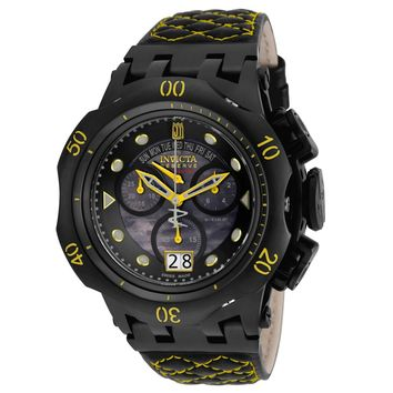 Invicta 17184 Men's Jason Taylor Hybrid Black MOP Dial Leather Strap Chronograph Dive Watch
