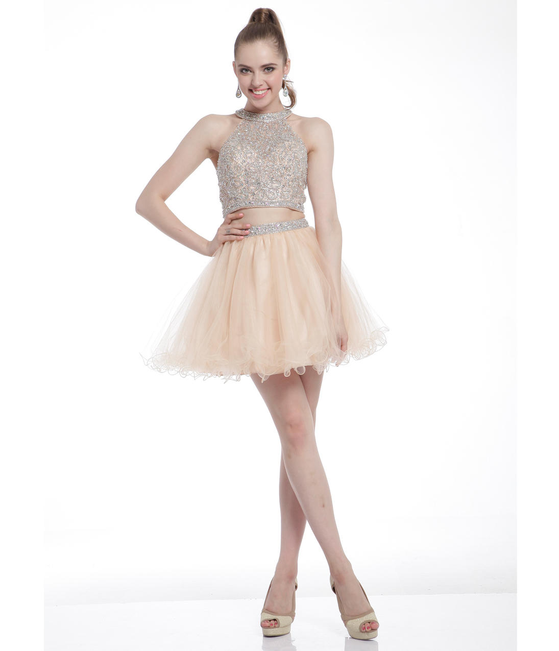 short two piece prom dresses 2015 gold short halter two
