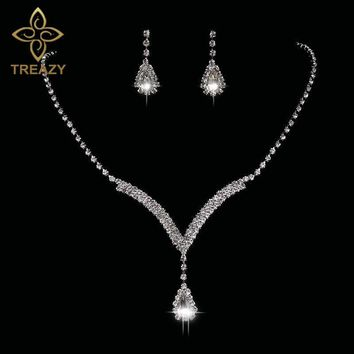 TREAZY Teardrop Crystal Bridal Jewelry Sets Silver Color Rhinestone Necklace Earrings V Shaped Wedding Jewelry Set for Women