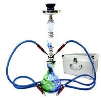 "GSTAR 22"" 2 Hose Hookah Complete Set with Optional Carrying Case - Swirl Glass Vase - (Pontus Blue w/ Case)"