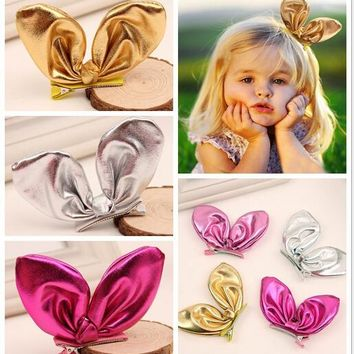 korean kids leather rabbit bunny ears barrettes for children baby hair bows with clips for girls hairpins hair accessories clip