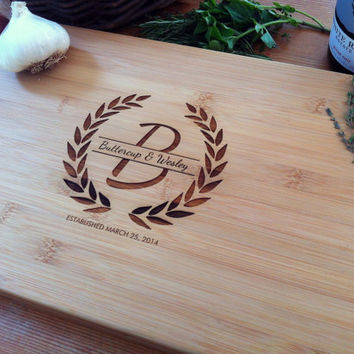 Custom Chopping Block Personalized Cutting Board Bridal Shower Fall Wedding Gift, Unique Hostess, Anniversary, Christmas Gift, Wreath Emblem