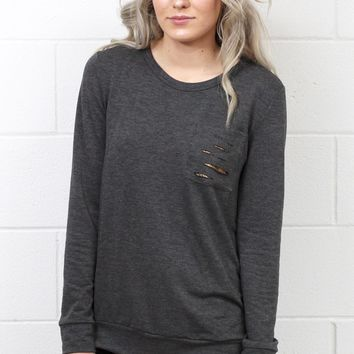 Sparkle in Your Distressed Pocket Sweatshirt {Charcoal}