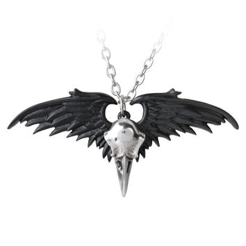 Alchemy Gothic Ravenger Raven Skull & Wings Pendant Necklace