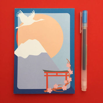 Japan Mount Fuji Notepad - Cherry Blossom A6 Notepad