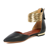 Black Ankle Strap Pointed Flat Shoes
