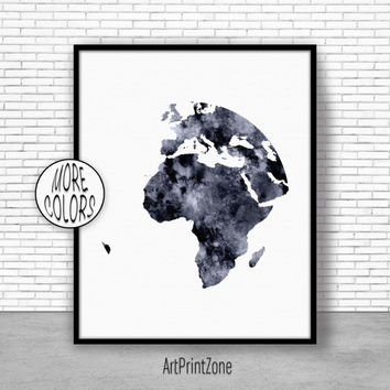 Africa Print, Africa Art, Globe Art, Globe Print, Globe Decor, World Map Poster, World Map Wall Art, World Map Print, World Map Decor