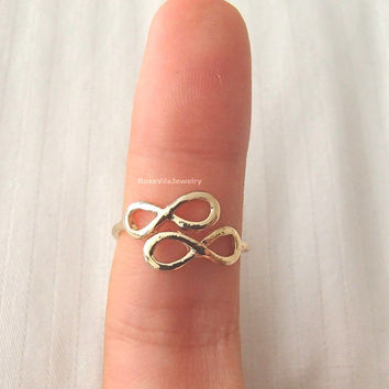 Double Infinity rings - Gold, adjustable size; minimalist knuckle rings, midi ring, double infinity, dainty, cute, simple ring