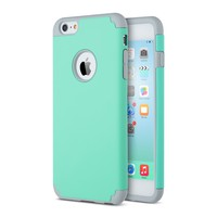 iPhone 6s Case, iPhone 6 Case, Lumsing™ Hybrid High Impact Dual Layer Armor Defender Cases Protective Cover for Apple iPhone 6/6s (Mint Green-Grey)