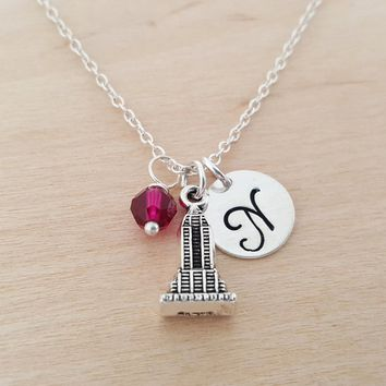 Empire State Building - New York Necklace - Initial Necklace - Personalized Necklace - Sterling Silver Jewelry - Gift for Her