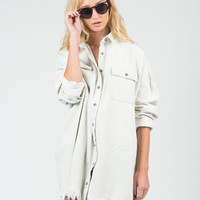 Fringed Denim Boyfriend Shirt - M/L
