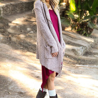 TEDDY DRAPED KNIT CARDIGAN