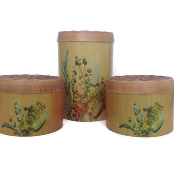Mid Century Kitchen Canisters-Vintage Kitchen Storage-Cheinco Metal Canisters-1970's-Retro Kitchen Decor-Faux Wood Grain-Floral Graphics