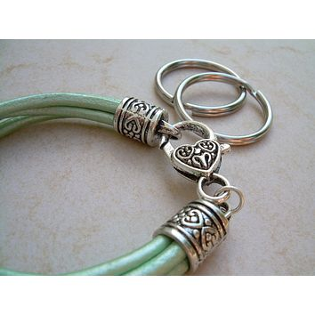 Womens  Metallic Turquoise Leather Bracelet - Valet Keychain - Four Strand / Urban Survival Gear USA