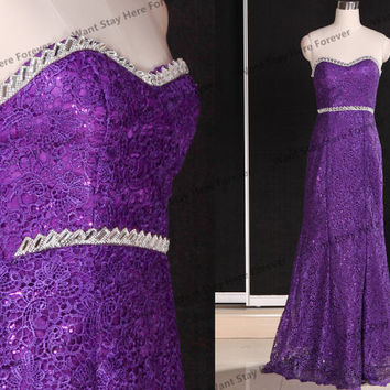 Purple lace long prom dresses,lace bridesmaid dress,lace prom dresses,lace evening dress,lace wedding party dresses,mother of bridal dresses