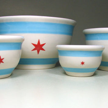 mixing bowl set chicago flag Made to Order by CircaCeramics